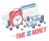 Deadline concept, table Alarm Clock and Calendar with cash money stacks and coin piles isolated on white background. Isometric vector business and finance illustration, 3d thin line design.