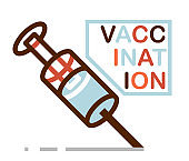 Vaccination theme vector illustration of a syringe isolated over white, epidemic or pandemic coronavirus covid 19 or flu or SARS or any other vaccine, pharmacology concept.