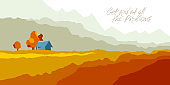 Beautiful scenic nature landscape vector illustration autumn season with grasslands meadows hills and mountains, fall hiking traveling trip to the countryside concept.