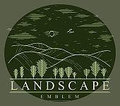 Beautiful scenic grasslands and trees vector linear emblem on dark, outdoor hiking camping ant travel active lifestyle, line art drawing nature logo.