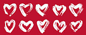 Hand drawn hearts vector  icons set, sketch doodle graphic design elements, brush stroke painted hearts symbols collection,