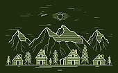 Rural village in mountain range and pine woods linear vector illustration on dark, wooden houses in trees forest line art drawing, countryside log cabins cottages, travel in wilderness for rest.