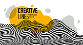 Abstract vector 3D lines with yellow fluid splat background, black and white curves linear perspective dimensional terrain optical pattern.