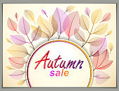 Design horizontal banner with Autumn typing logo, fall red and yellow leaves frame composition background. Card for autumn season, promotion offer. Stylish classy botanical drawing, environment.