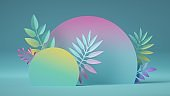 3d render, abstract colorful background with blank round board decorated with assorted paper tropical leaves. Modern showcase for product presentation