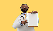 3d render. Happy doctor african cartoon character shows clipboard with blank paper. Clip art isolated on yellow background. Medical insurance professional recommendation