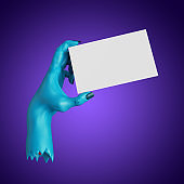 3d render, creepy blue zombie hand holds blank card template. Halloween clip art isolated on violet background