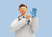 3d render. Doctor cartoon character with stethoscope wears blue latex glove. Clip art isolated on blue background. Professional medical concept