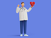 3d render. Cardiologist cartoon character shows finger up, holds red heart symbol. Clip art isolated on blue background. Medical application concept