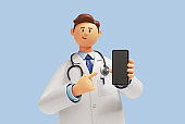 3d render. Doctor cartoon character shows smart phone device with blank screen. Clip art isolated on blue background. Medical application concept