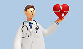 3d render. Cardiologist cartoon character shows red heart symbol. Clip art isolated on blue background. Medical application concept
