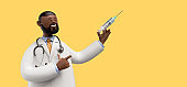 3d render. Doctor african cartoon character with stethoscope and syringe. Clip art isolated on yellow background. Vaccination concept