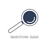 Magnifying glass icon. Vector illustration in flat cartoon design. Search icon concept.