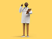 3d render. African cartoon character doctor holds documents and gives advice. Medical clip art isolated on yellow background. Professional consultation