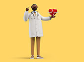 3d render. African cartoon character doctor. Cardiologist shows red heart symbol. Medical clip art isolated on yellow background