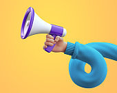 3d illustration. Cartoon character hand wearing blue sweater, holds megaphone. Online social media clip art isolated on yellow background. News announcement concept