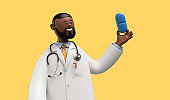 3d render. Doctor african cartoon character holds blue pill. Clip art isolated on yellow background. Medicament recommendation. Pharmaceutical clip art isolated on yellow background