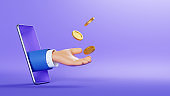 3d illustration. Cartoon character hand sticking out the smart phone screen, throws up golden coins to the air. Online business profit clip art isolated on violet background. Financial application