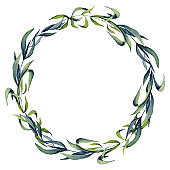 Round Wreath of Watercolor Willow Leaves