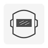 Welding mask vector icon design. For welding, metalworking and construction.