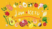Keto diet long horizontal banner. Ketogenic diet foods