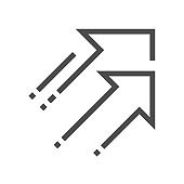 Increase decrease and arrow vector icon, 48x48 pixel perfect and editable stroke.
