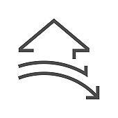 Decrease concept design of real estate vector icon design, 48x48 pixel perfect and editable stroke.