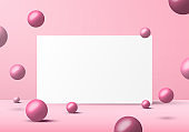 3D realistic pink balls spheres shapes with white backdrop background