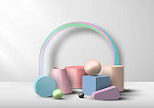 Set of 3D geometric object pastel color display on white background