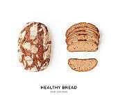Fresh wheat and rye bread creative layout