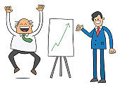 Cartoon worker man shows the boss the sales chart and the boss is very happy that the sales are high, vector illustration