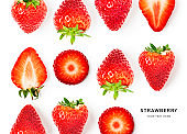 Strawberry fruits and leaves creative composition