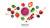 Smoothie and summer berries creative layout