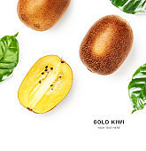 Yellow gold kiwi fruit composition and creative layout