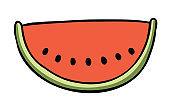 Cartoon vector illustration of a slice of watermelon