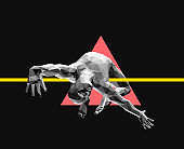 Jumping man. 3D human body model. Gymnastics activities for icon health and business. Vector illustration.