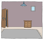 Cartoon vector illustration of a room of the house
