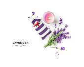 Lavender flowers bunch, sachet and candle