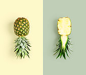 Fresh pineapple fruit, color card and creative layout