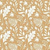 Atumn leaves, seamless illustration. Vector pattern, fabric design
