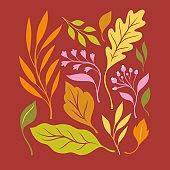 Atumnal leaves, vector illustration.