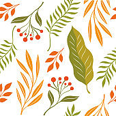 Autumn leaves, seamless illustration on white background.