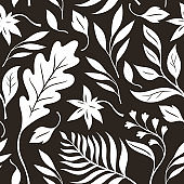 Atumn leaves, black and white seamless illustration. Vector pattern, fabric design