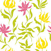 Beautiful seamless flowery pattern, white background and green and yellow leaves