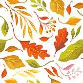 Autumn leaves, seamless illustration on white background. Oak leaves, maple leaf  falling. Vector pattern, fabric design