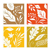 Four square images with silhouette of autumn leaves