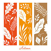 Vertical banners with silhouette of autumn leaves