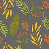 Autumn leaves, seamless illustration on gray background.