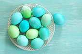 Light blue and green Easter eggs