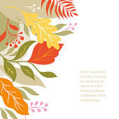 Atumnal leaves, vector illustration with place for your text